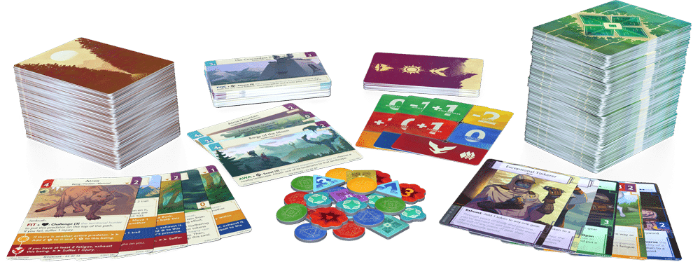 Earthborne Rangers game spread, including cards, tokens, and game markers.
