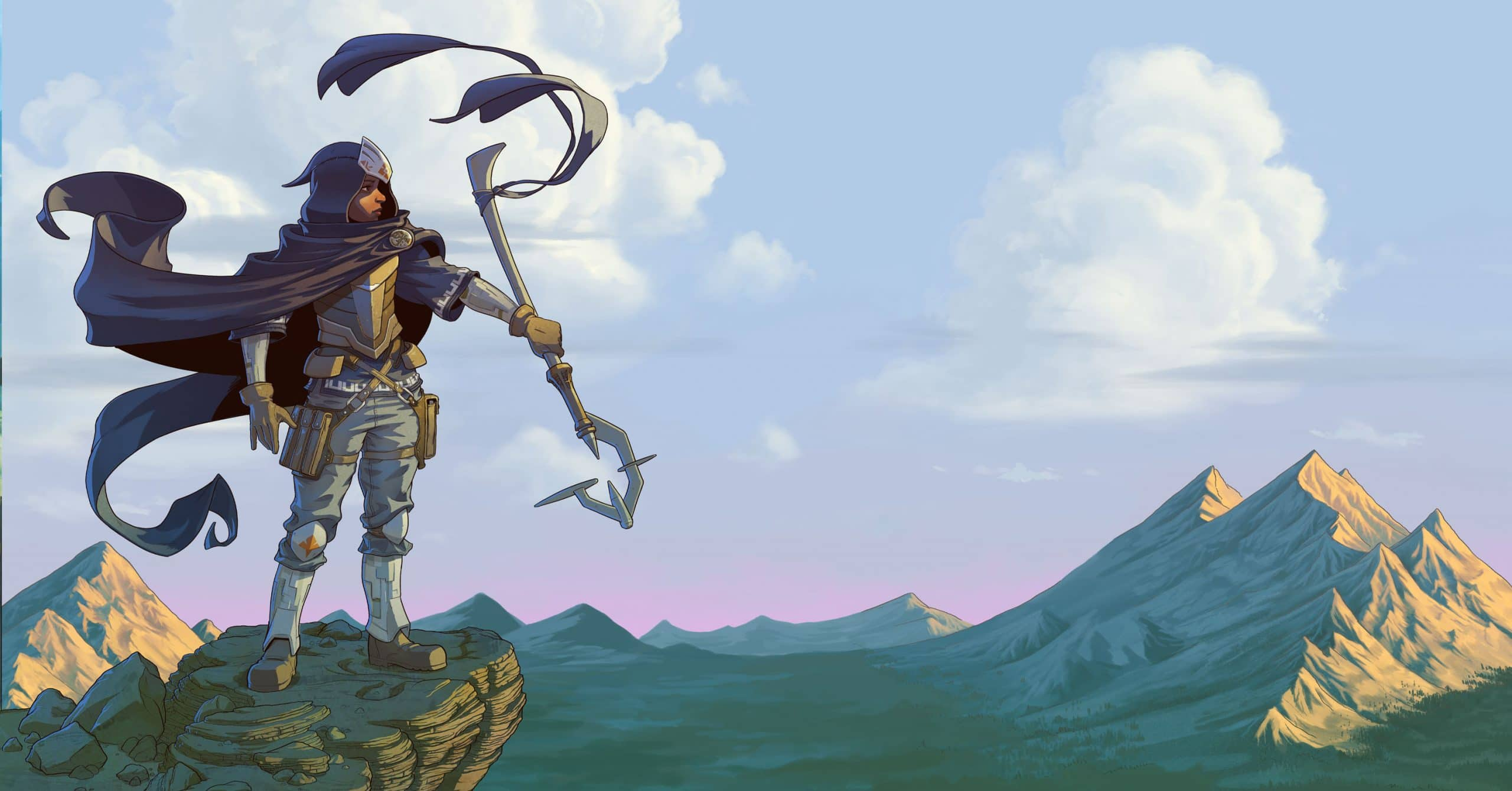 An Earthborne Ranger gazes across the valley atop a mountainside perch, steep-peaked mountains in the background.