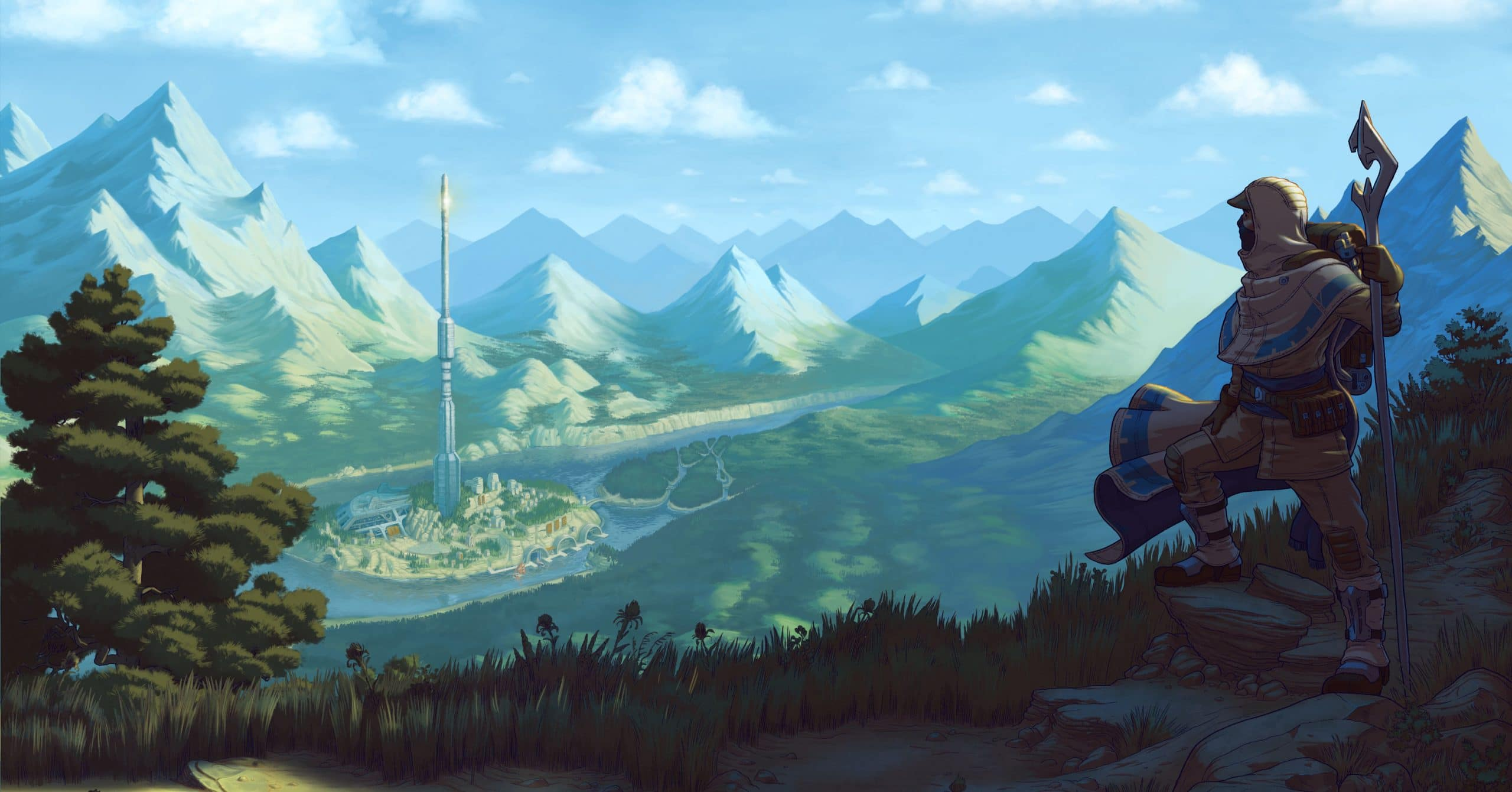 An Earthborne Ranger gazes into a mountainous valley, with a tall, spire-like relic nestled on an island in a river that runs across the valley floor.